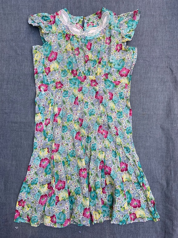1930s Floral Shear Dress