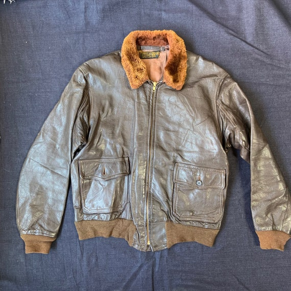 1940s-50s Dark Brown Bomber Leather Jacket