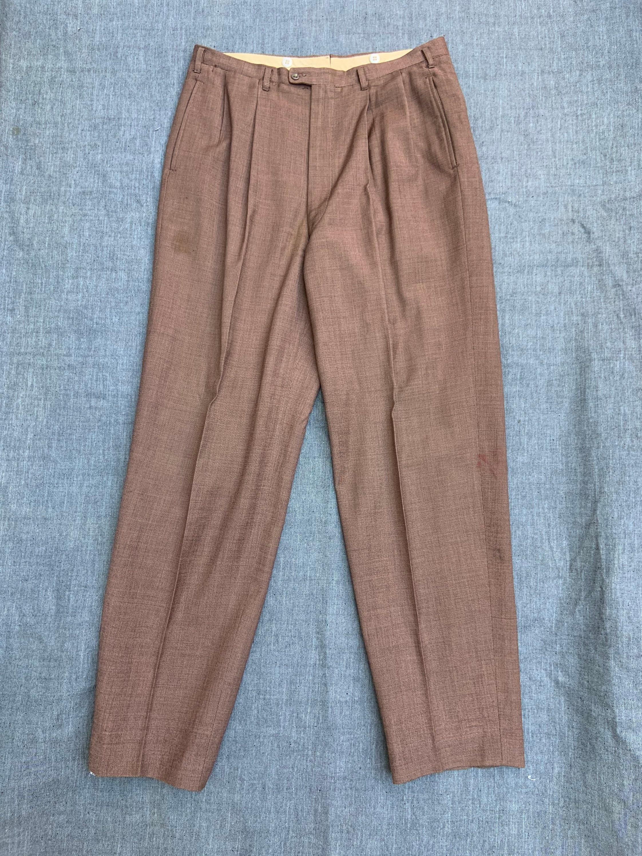 1940s Mens Ties | Wide Ties & Painted Ties 1940S Brown Linen Trousers $20.00 AT vintagedancer.com