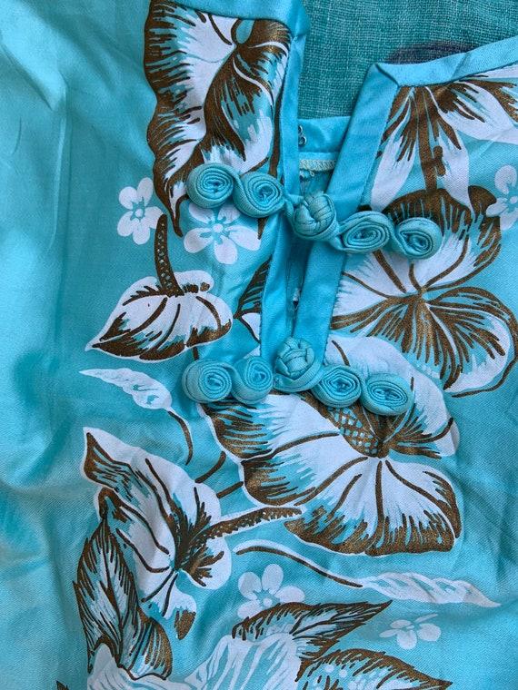 1950s Aqua Hawaiian Tiki Sheath Dress - image 3