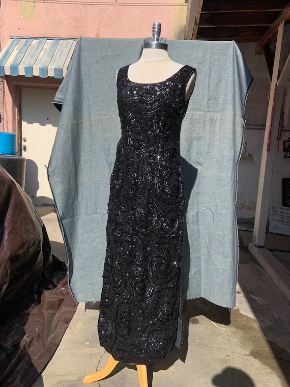 1950s Black Sequin Gown