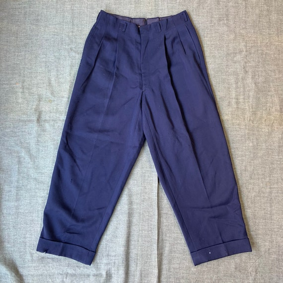 1940s Deep Blue Gaberdine Pleated Trousers