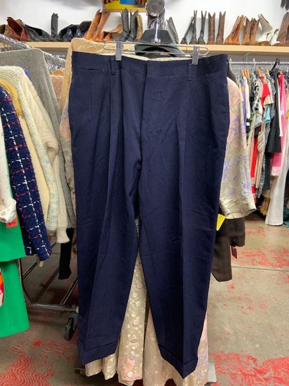 1950's Navy Gabardine Pleated Trousers