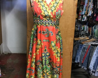 1960's psychedelic Maxi Dress size medium