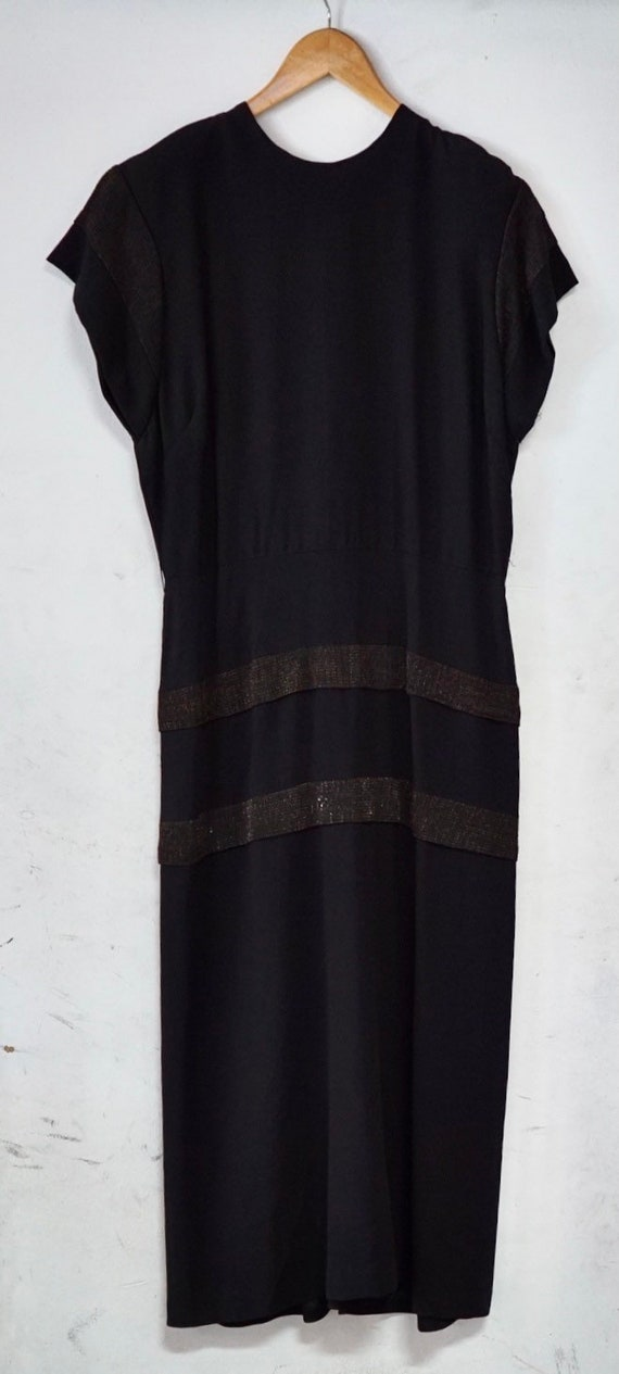 1940s Black Lurex  and Crepe Dress