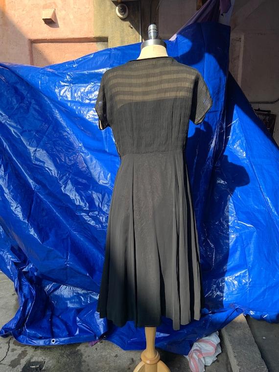 1950s Black Chiffon Dress - image 2