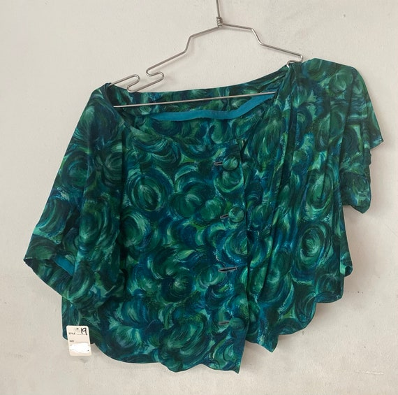 1950's Blue and Green Abstract Cropped Blouse
