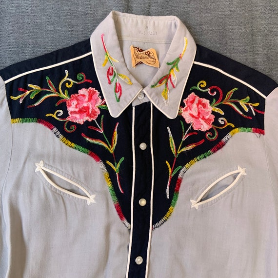 1950s Black and Grey Western Shirt - image 3
