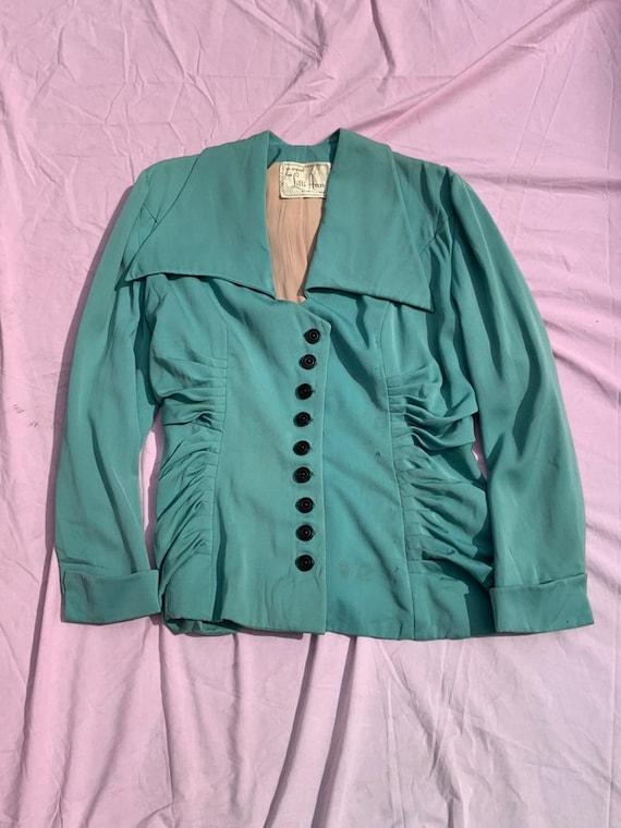 Lilli Ann 1940s Turquoise Jacket