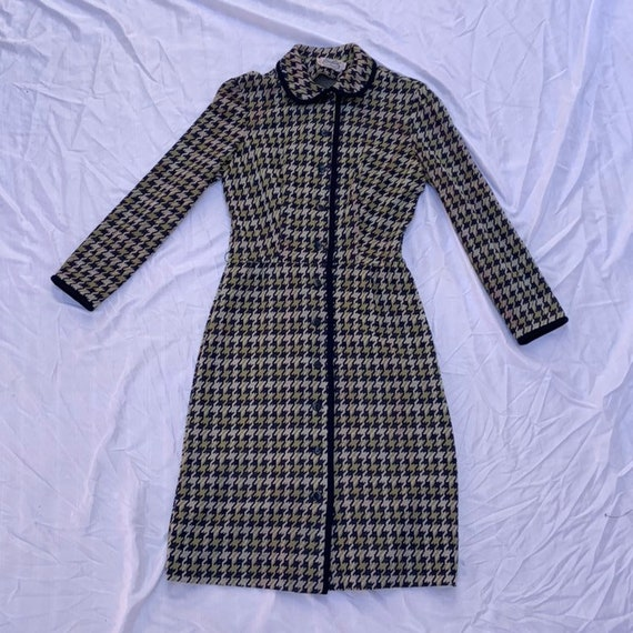 1960s Blue And Green Hound Tooth Dress/Jacket