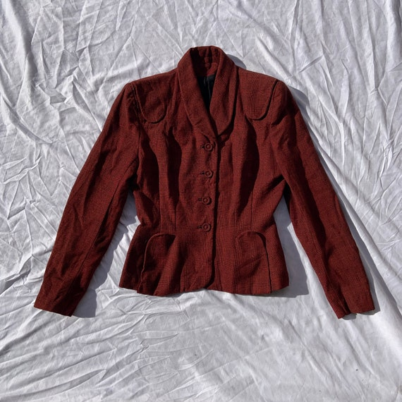 1940s Women's Red and Black Cross Hatch Blazer