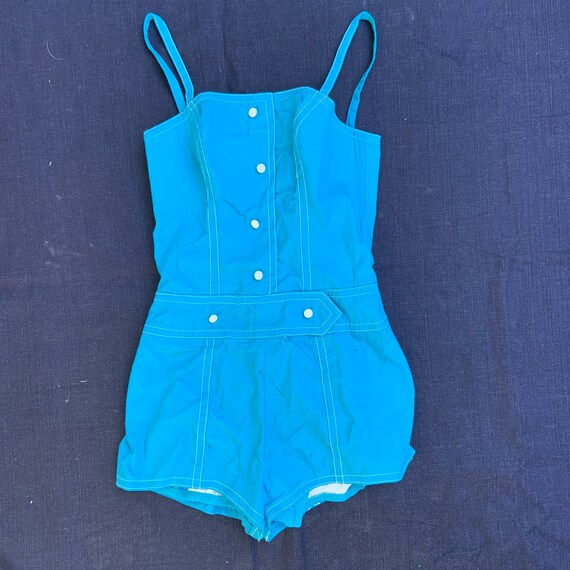 1960s Turquoise One Piece Sunsuit With White Contr