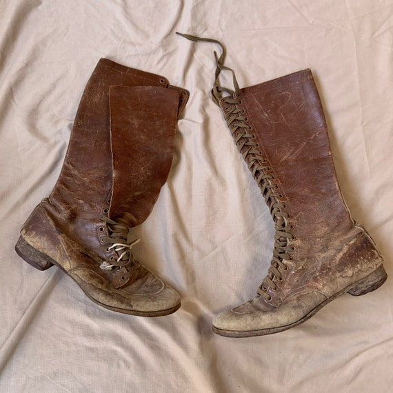 1940s Woman's Brown Motorcycle Boots