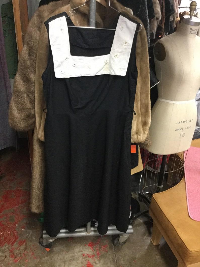 Rhinestone Flower Square Collar Black Day Dress Plus Size