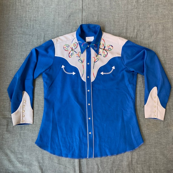 1970s H Bar C Blue And Grey Western Shirt