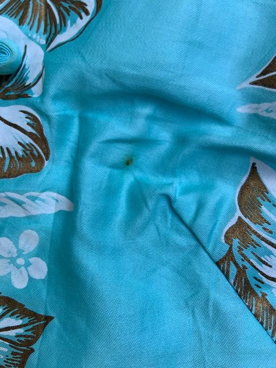 1950s Aqua Hawaiian Tiki Sheath Dress - image 5