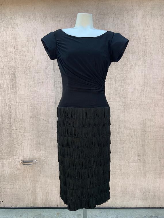1950s Black Fringe Cocktail Dress