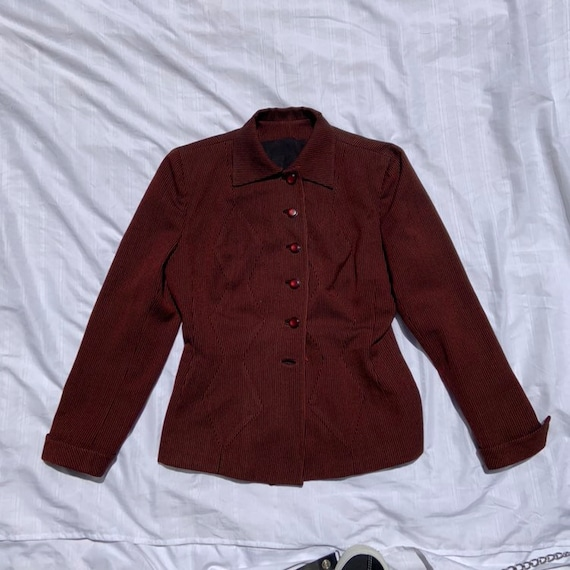 1940s Red and Black Pinstriped Women's Blazer