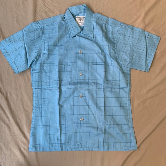 1960s Deadstock Baby Blue Windowpane Button Up Shi