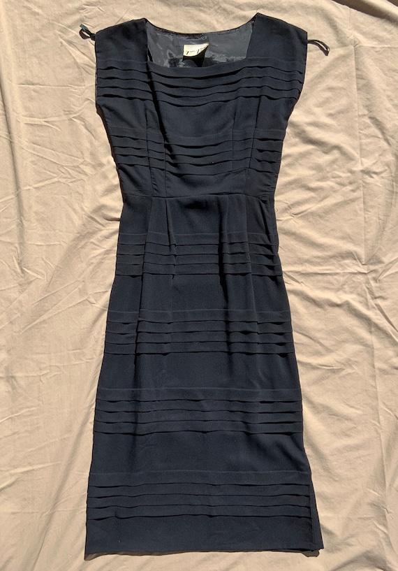 1950s Black Crepe Dress