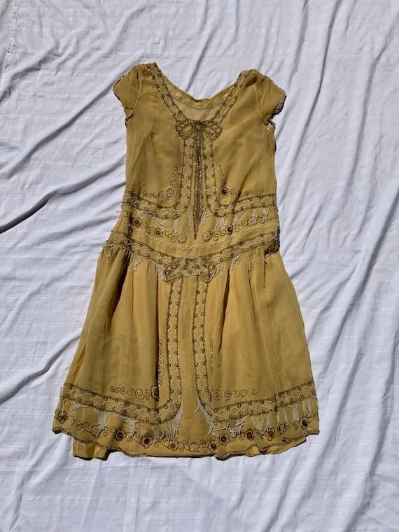 1920s Yellow Flapper Dress
