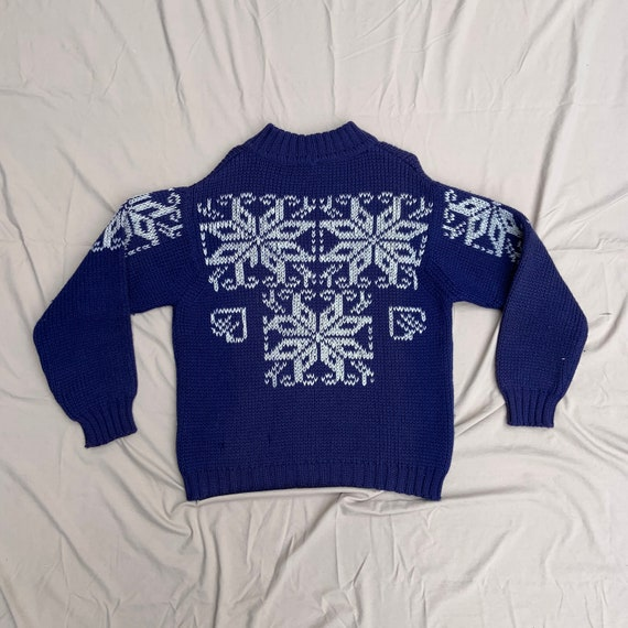 1950s Navy Blue and Cream Mock Neck Ski Sweater