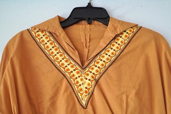 1950's Brown Cotton Patio Blouse Pullover