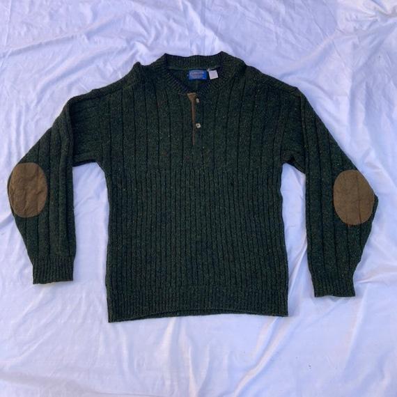1980s Green Wool Fleck Henley Pendleton Sweater