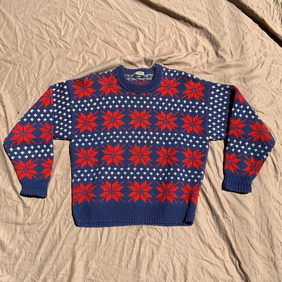 1950s Blue and Red Ski Sweater