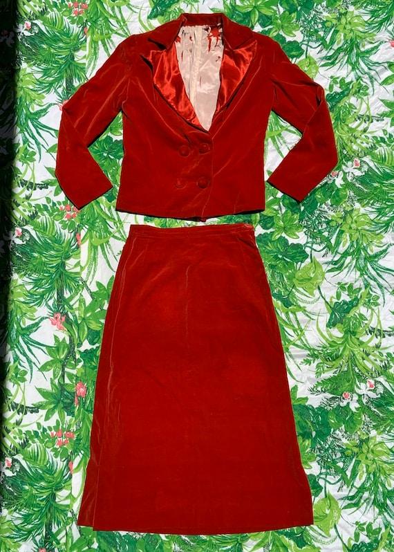 1950s Woman's Red Velvet Suit