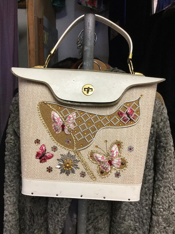 1950's Adorable Box Purse With Butterflys