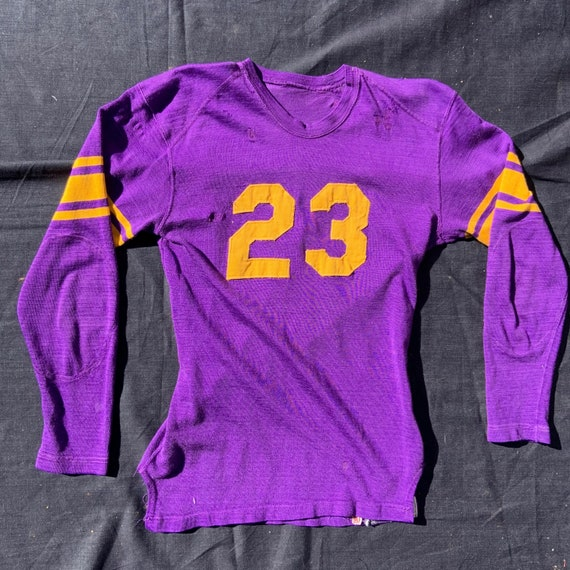 1960s Purple and Gold Rayon Blend Knit Jersey