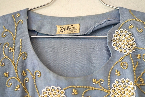1950's Zolot Light Blue Beaded Linen Blouse