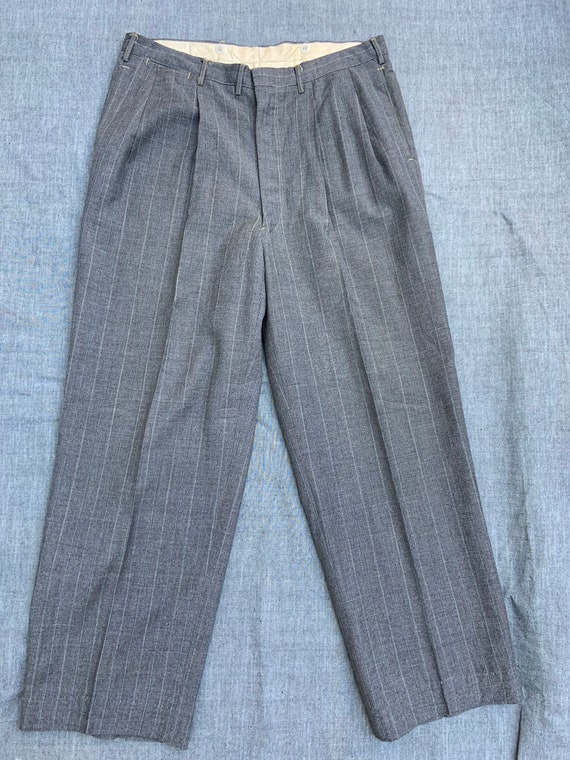 1940s Gray Wool Pinstriped Trousers