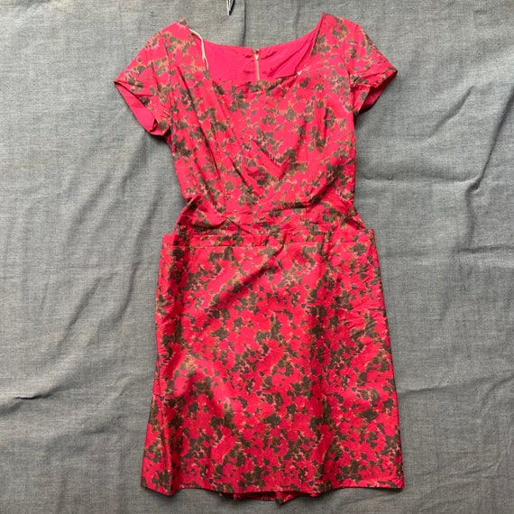 1950s Red Floral Silk Dress