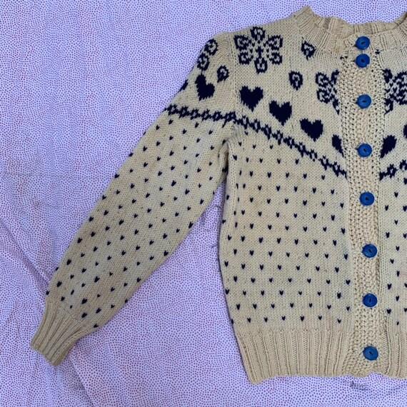 Vintage 1930s Hand Knit Blue Heart Sweater Cutsie… - image 2