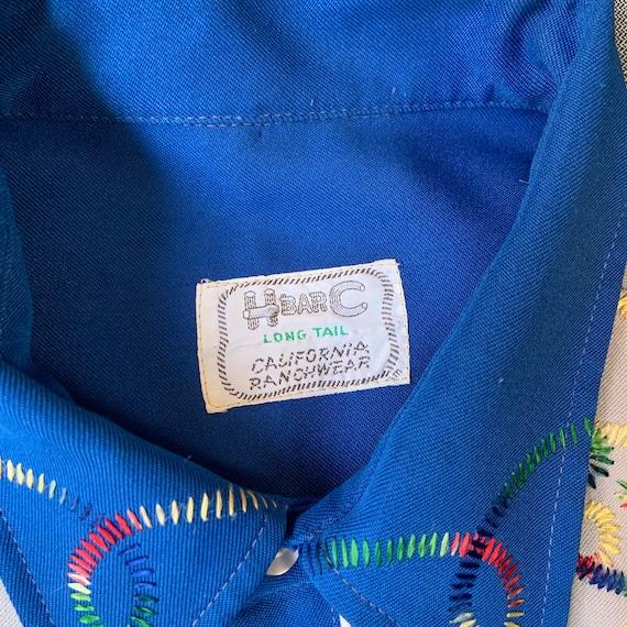 1970s H Bar C Blue And Grey Western Shirt - image 7