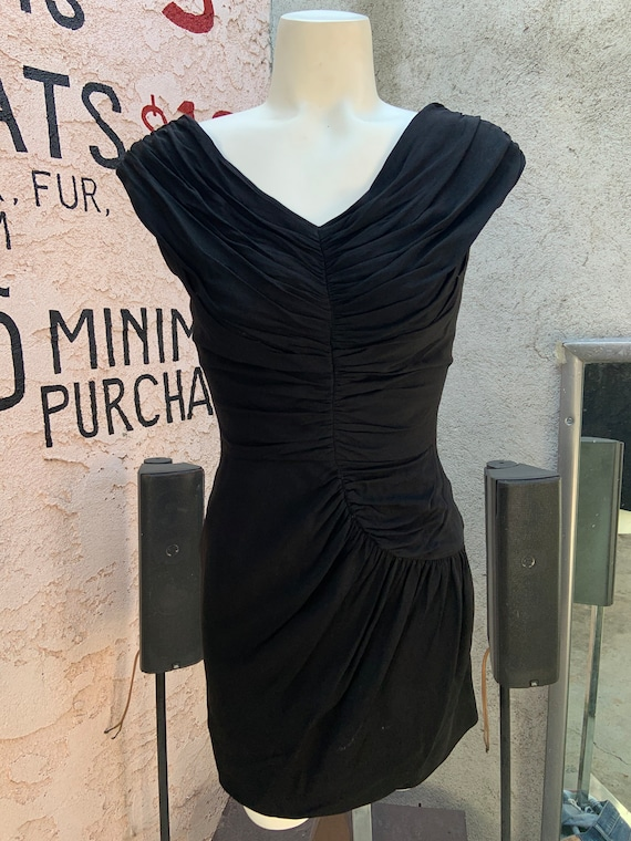 1950s Black Ruched Dress