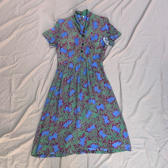 1940s Maroon, Green, And Blue Cold Rayon Dress