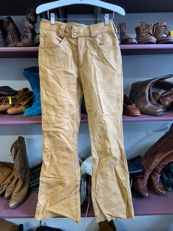 1970s Tan Leather Bell Bottoms