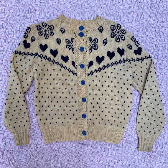 Vintage 1930s Hand Knit Blue Heart Sweater Cutsie