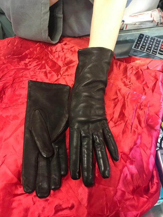 Ladies Leather Lined Gloves Size 7