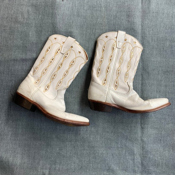 1950s White and Gold Cowboy Boots