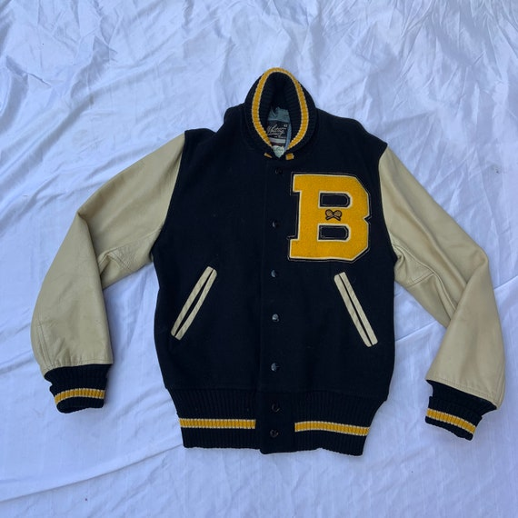 1950s Black and Yellow Varsity Letterman's Jacket