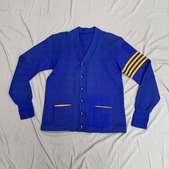 1960s Deep Blue and Yellow Varsity Cardigan Sweate