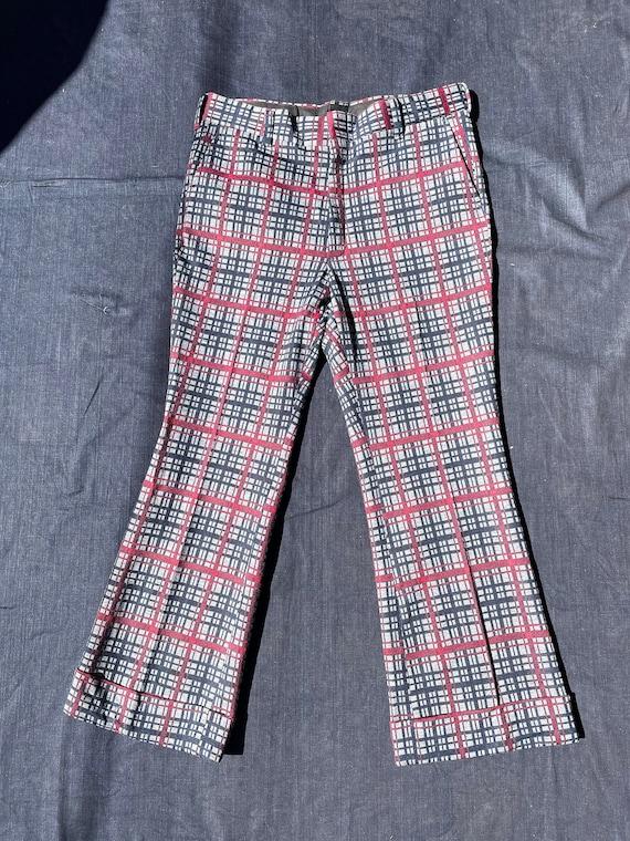 70s Mens Polyester Plaid Pants