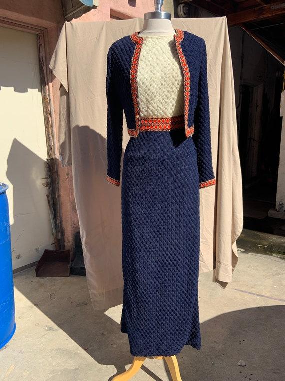 1960s Popcorn Knit Maxi Dress and Jacket Set