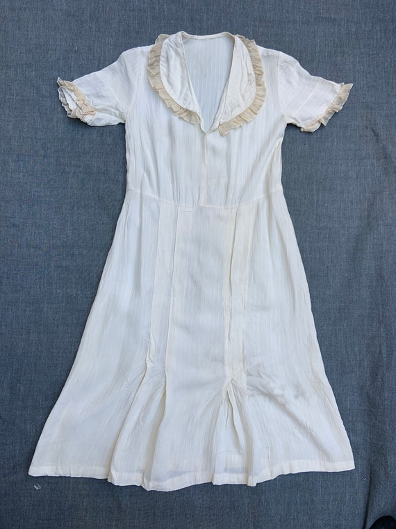 1930s Off White Pullover Dress