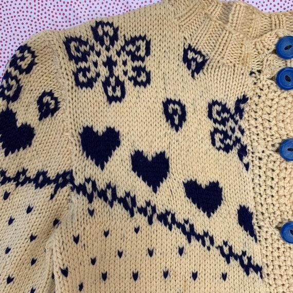 Vintage 1930s Hand Knit Blue Heart Sweater Cutsie… - image 3