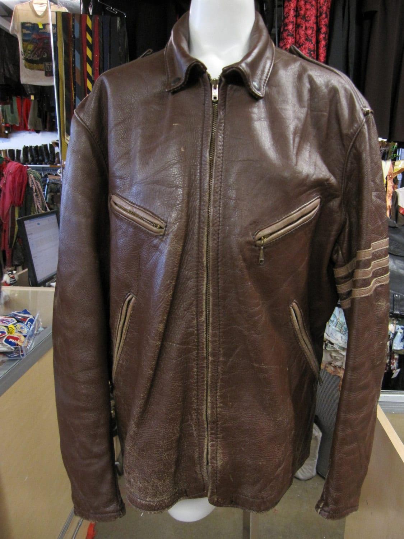 1950s Mens Hats | 50s Vintage Men's Hats 1950S Bates Leather Jacket  Motorcycle Greaser Racing Mens Coat 50S Clothing Brown $1,200.00 AT vintagedancer.com
